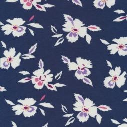 Viscose jersey i støvet mørkeblå med blomster-20