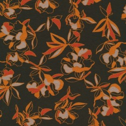 Viscose jersey i mørk army med orange blomster-20