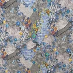 Jersey i Viscose/lycra digitalprint strik look med blomster-20