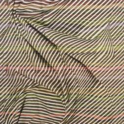 Jersey i Viscose/lycra digitalprint stribet med stof folder i lime brun rust-20