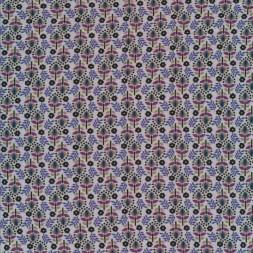 Viscose jersey i lys grå-blå med blomster-20