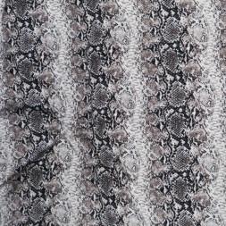 Viscose jersey med slangeprint i hvid pudder-brun og sort-20