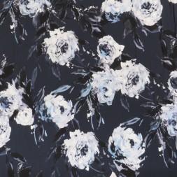 Jersey i Viscose/lycra digitalprint støvet blå med blomster-20
