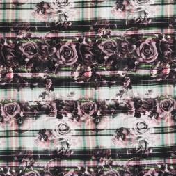 Jersey i Viscose/lycra digitalprint med roser og tern i sort pudder grøn-20