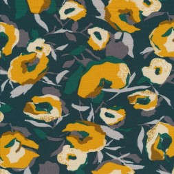 Viscose jersey med blomster i flaskegrøn carry-20