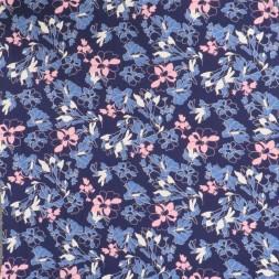 Viscose jersey blomstret i marine, denim og lyserød-20