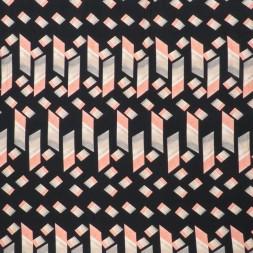 Jersey i Viscose/lycra digitalprint i sort med cube i rosa-20