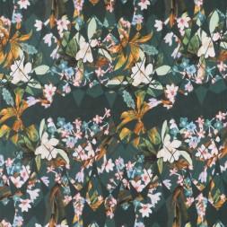 Jersey i Viscose/lycra digitalprint i petrolgrøn med blomster-20