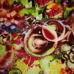 Viscose/lycra m/digitalt print, lime/gul/rød-20