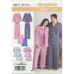 Simplicity 3971 Nattøj/pyjamas herre/dame-20