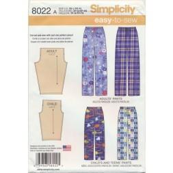 Simplicity 8022 Løs buks uden sidesøm til børn og voksne-20
