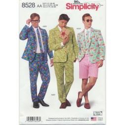 Simplicity 8528 Herre habit jakke, bukser, shorts og slips-20