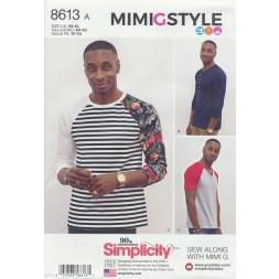 Simplicity 8613 Herre t-shirt med rund og V-hals-20
