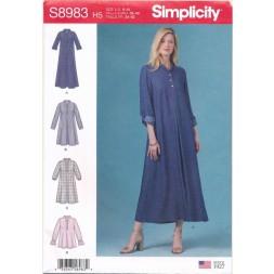 Simplicity 8983 Skjorte Kjole og bluse med stå-krave til fast stof-20