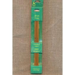 Pony strømpepinde i lys bambus str.3-20