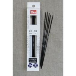 Prym strømpepinde ergonomiske i Carbon str. 2½-20