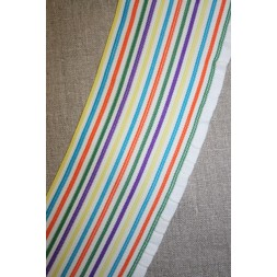 Stribet elastik m/flæsekant, hvid/orange/grøn-20