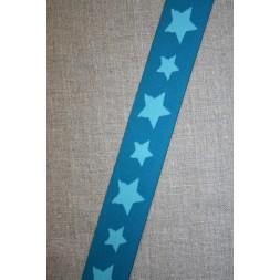 Elastik til undertøj 30 mm. med stjerner, petrol-turkis-20