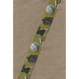 Elastik til undertøj 33 mm. grøn med fodbold-20