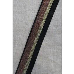 Elastik med glimmer 40 mm. sort guld kobber-20