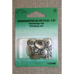 Patent-/Jeans knap, sølv-20