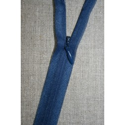 40 cm. usynlig lynlåse, støvet blå-20