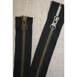 50 cm. 2-vejs jakke-lynlås 6 mm. antik messing/sort-20
