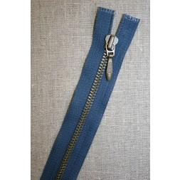 25 cm. delbar lynlås blå/antik messing, YKK-20