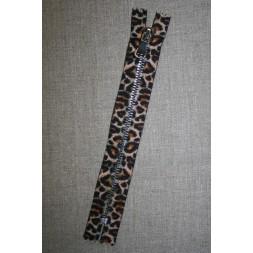 18 cm. lynlås metal leopard/sølv-20