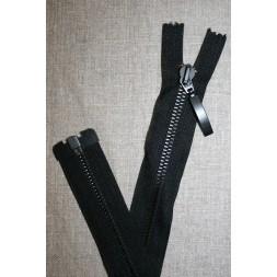 42 cm. delbar metal lynlås m/stort vedhæng, sort-20