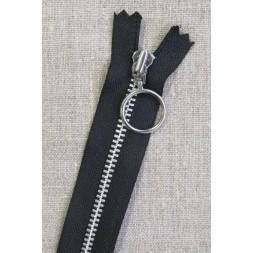 35 cm. lynlås 4 mm aluminium fast med ring i sort-20