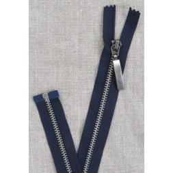 56 cm. delbar metal lynlås m/stort vedhæng, mørkeblå-20