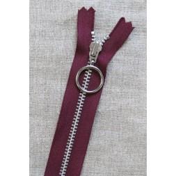 35 cm. lynlås 4 mm aluminium fast med ring i bordeaux-20