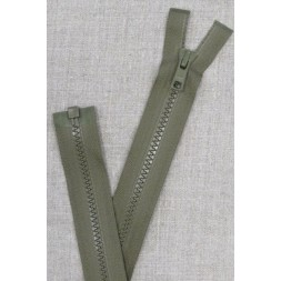 52 cm. delbar plast lynlås i oliven/army fra YKK-20