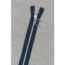 30 cm. lynlås 4 mm aluminium fast med ring i mørkeblå-20