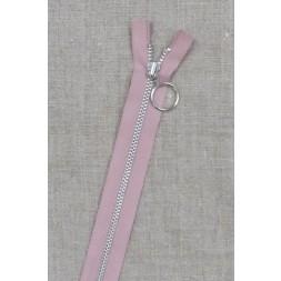 25 cm. lynlås 4 mm aluminium fast med ring i gammel rosa-20