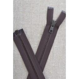 46 cm. delbar plast lynlås i mørkebrun, YKK-20