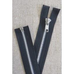54 cm. delbar metal lynlås med sølv tænder, sort-20