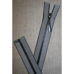 60 cm. delbar lynlås metal sort og hvid med striber og tern-20