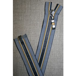65 cm. delbar lynlås metal sildeben blå/carry-20