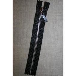 18 cm. lynlås metal sort m/tern /sølv-20