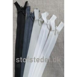 60 cm. Usynlige lynlåse Sort Hvid Grå-20