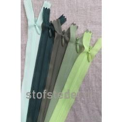 22 cm. Usynlige lynlåse Grøn-20