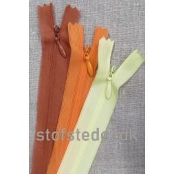 22 cm. Usynlige lynlåse Orange Lysegul-20