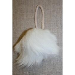 Pels-pompon af kanin, 9 cm. hvid-20