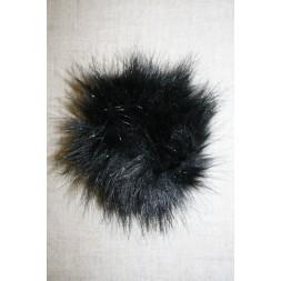 Pels-pompon i acryl, sort 12 cm.-20