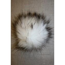 Pels-pompon i acryl, hvid/sort, 12 cm.-20