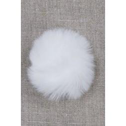 Pels-pompon i akryl i hvid, 5 cm.-20