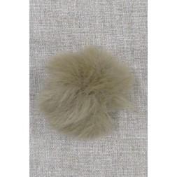 Pels-pompon i akryl i natur/mørk sand, 5 cm.-20