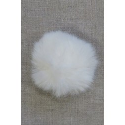 Pels-pompon i akryl i knækket hvid, 8 cm.-20